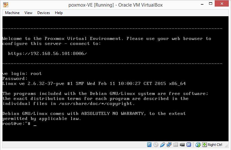 proxmox in virtual box