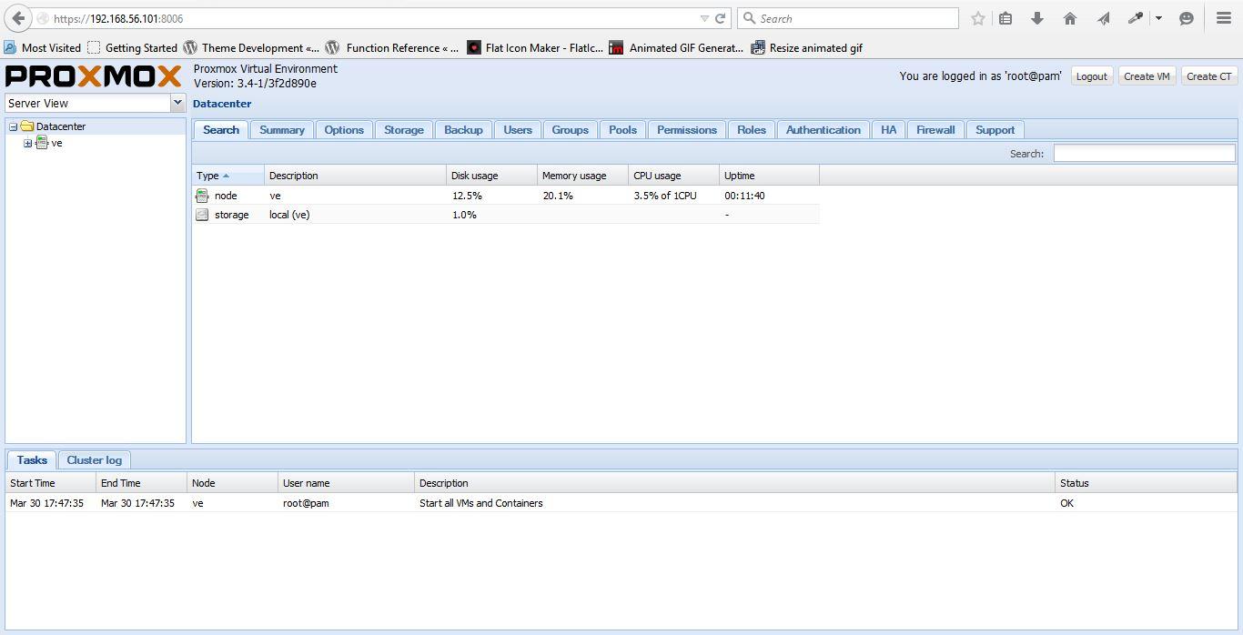 proxmox-web interface